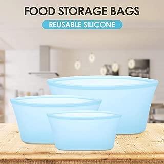 Weehey 3 Piezas de Silicona Reutilizables Bolsas de Almacenamiento de Alimentos Bolsas de conservación de Alimentos contenedor de Alimentos a Prueba de Fugas para líquido Vegetal