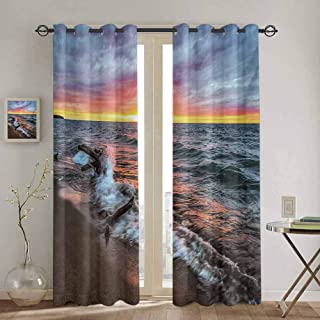 Driftwood Room Darkened Curtain Driftwood on The Shores of The Lake Set Against The Sunset Horizon Image for Bedroom- Kindergarten- Living Room W55 x L63 inch Blue Grey Orange