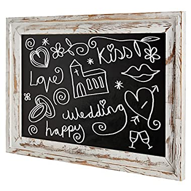Shabby Chic Wall Mounted White Washed Wood Framed Chalkboard, White