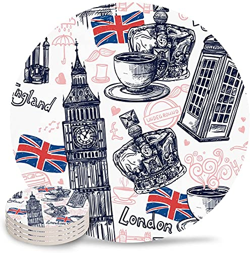 Drink Coasters England Flag Big Ben Telephone Booth Absorbent Stone Ceramic Coaster with Cork Back and NO Holder for Cups, Set of 6-Piece Vintage-6