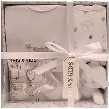 Set regalo unisex de 3 piezas para beb/é del dise/ñador Costanzo Enrico Blanco