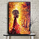 Gold Forest Girl Landscape Oil Painting Canvas Posters and Prints Wall Art Picture for Living Room Decorativo Sin marco