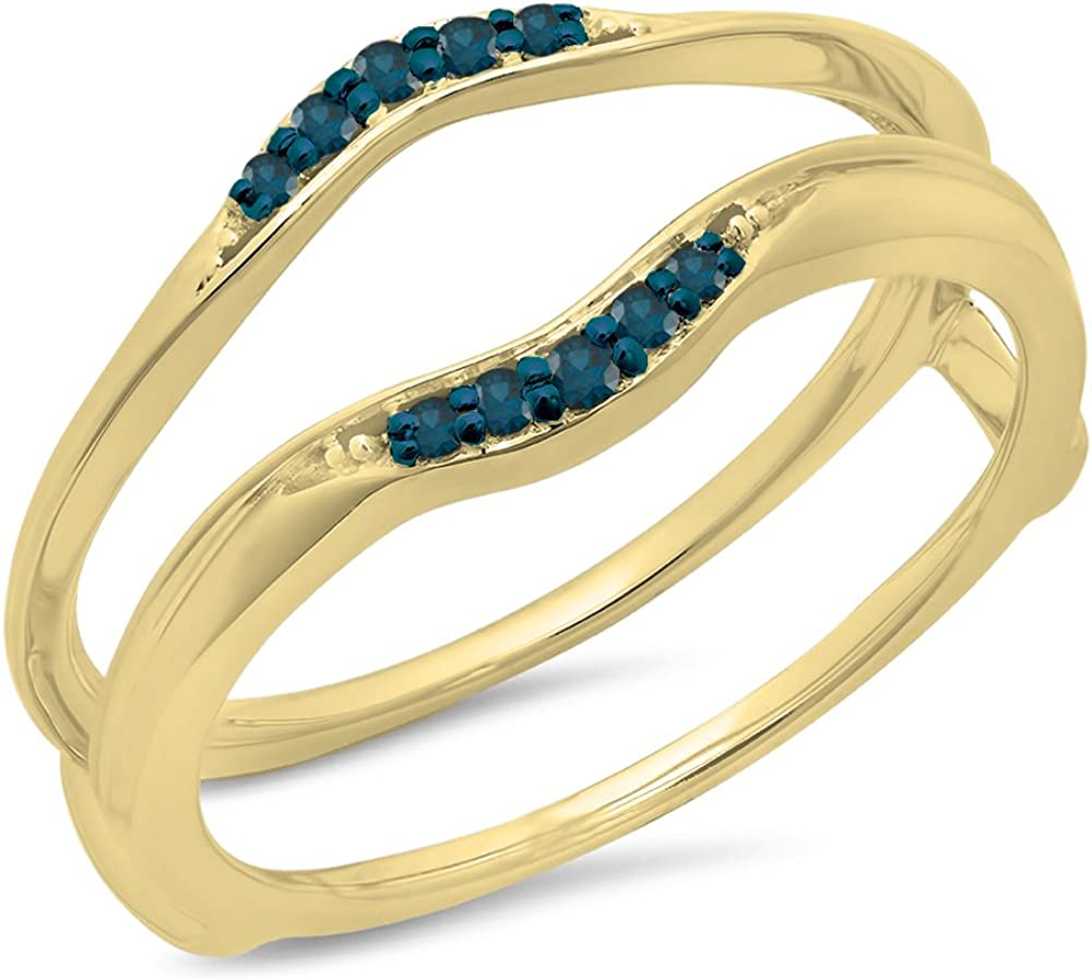 10K Gold Round Blue Diamond Ladies Anniversary Wedding Band Guard Double Ring 1//10 CT ctw 0.10 Carat