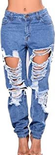 Generic Women's Stretcy Hip Hop Chic Soft Denim Jean Baggy Ripped-Holes Pant XL
