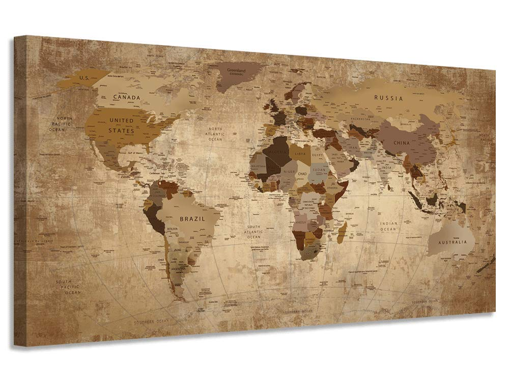 """World Map Wall Art Canvas Retro Beige Abstract Painting Vintage Nautical Picture Framed Artwork Prints Poster for Living Room Bedroom Study Room Home Office Wall Decor 48""""x24"""""""