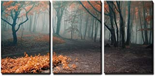 wall26 - 3 Piece Canvas Wall Art - Trees with Red Leafs in a Mysterious Fantasy Forest with Fog - Modern Home Decor Stretched and Framed Ready to Hang - 16