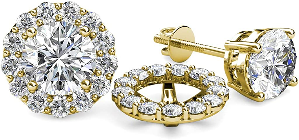 TriJewels Halo Jacket for Stud Earrings 0.78 ct tw to 0.82 ct tw in 14K Yellow Gold.