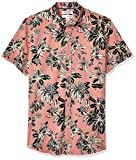 Amazon Brand - Goodthreads Men's Standard-Fit Short-Sleeve Printed Poplin Shirt, Pink Floral, Large