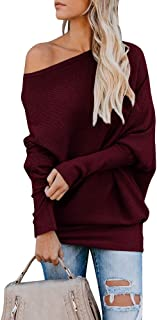 Womens Off Shoulder Sweater Rib Knit Oversized Batwing Chunky Pullover Jumpers