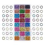 PandaHall 1Scatola Alluminio colorato Filo Open Jump Rings Accessori per la creazione di Gioielli, Colore Misto, Color 1, 8 mm