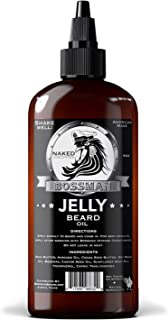 Bossman Beard Oil (4oz) � Beard Softener, Bigger Bottle, Thicker Growth, All Natural, American Made, Non Greasy Jelly Beard Oil (Naked Scent)