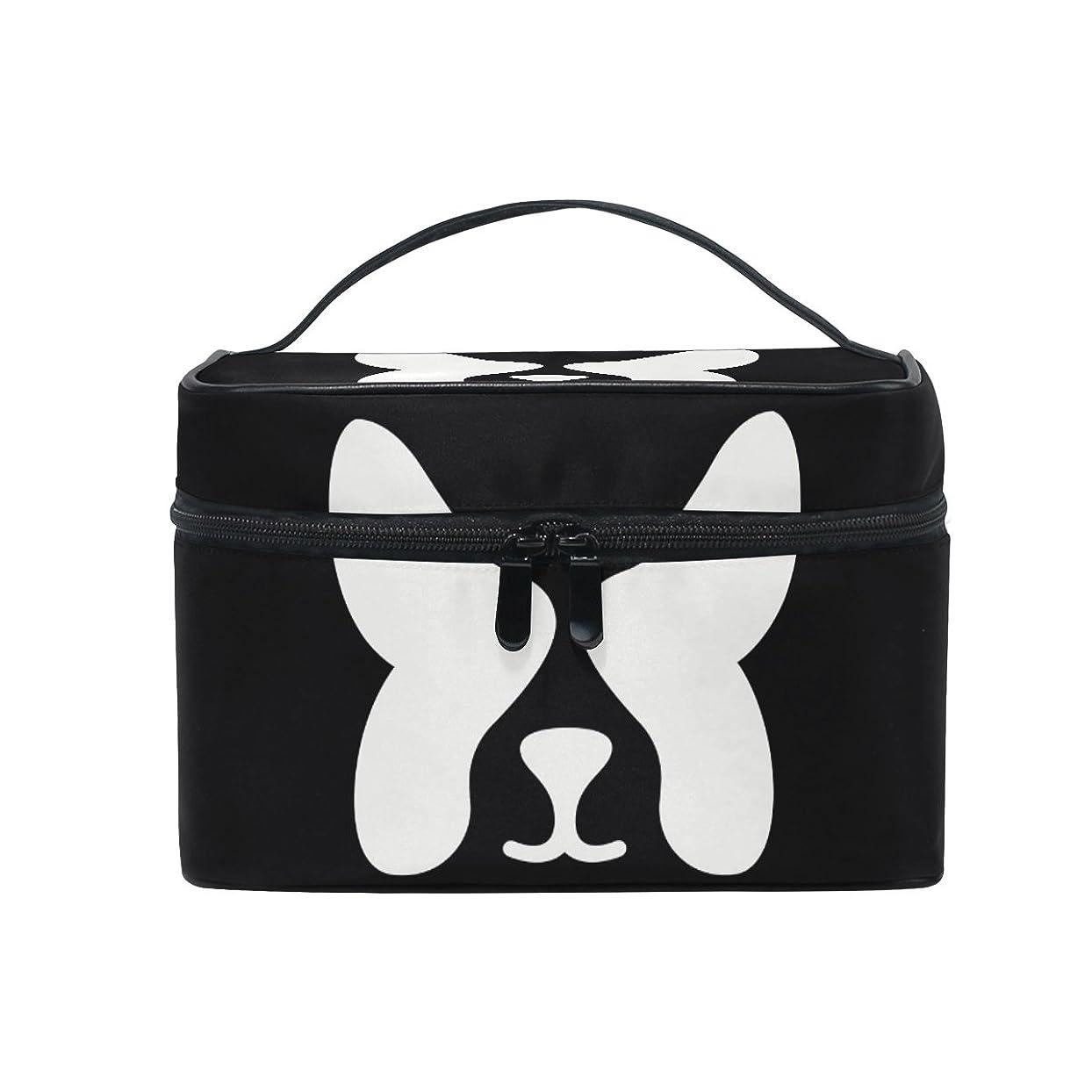 可能にするアラバマガラスALAZA 化粧ポーチ 犬柄 いぬ柄 化粧 メイクボックス 収納用品 ブラック 大きめ かわいい