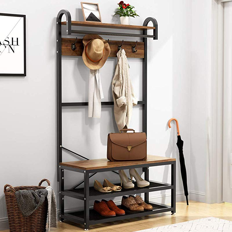 Tribesigns Vintage 4 In 1 Hall Tree With Storage Bench 3 Tier Industrial Entryway Bench With Coat Rack And Hanging Bar Coat Rack Stand With Shoe Rack Storage Shelf And 5 Hooks Rustic