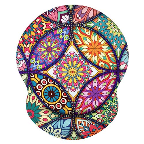 Mouse Pad with Wrist Support Computer Accessories Non-Slip PU Base Mouse Pads for Desktop Ergonomic Colorful Mandala Mousepad for Women Office,Computer, Mac ,Laptop,Easy Typing & Pain Relief