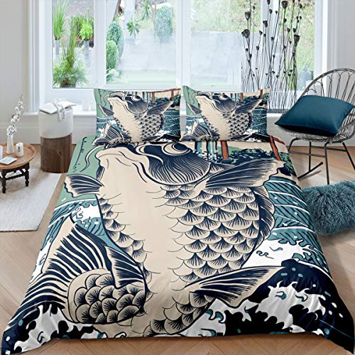 Japanese Ukiyoe Bedding Set for Kids Adults Hokusai Pattern Comforter Cover Carp Wave Ocean Printed Duvet Cover Exotic Style Bedspread Cover Boys Girls Bedroom Decor 3Pcs Double Size