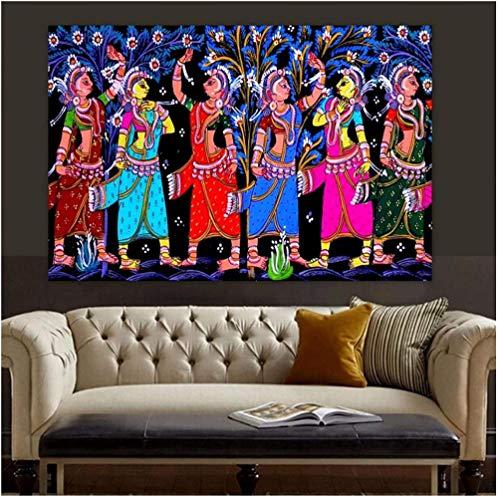 Poster Madhubani Mithila Gopi Leela Dancing Indian God Religion and Spirituality Canvas Painting Poster Print Wall Art 50x70cm