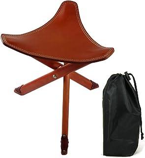 WZPG Taburete de triángulo Plegable de Cuero, Silla de bocetos de Cuero, Silla de Pesca al Aire Libre Multifuncional (incluida la Bolsa de Almacenamiento)
