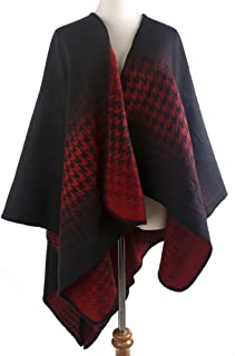 Women's Blanket Winter Houndstooth Knitted Cardigans Scarf Shawl Poncho Cape