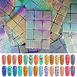 Ebanku 288 Pièces Stencil Ongle Pochoir Ongle Nail Art Design, 24 Sheets 96 Different Motif Nail Vinyls Nail Stencil Sticker Good Ongles Accessoires Set