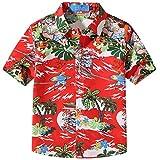 SSLR Camisa Hawaiana Tropical Estampado Navideño Papá Noel 3D Casual para Niño (Medium, Rojo)