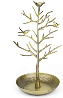 Flexzion Jewelry Display Stand, Earring Necklace Holder Tree Tower Rack Hanging Organizer - Ideal for Bangles Pendants Anklet (Brass)