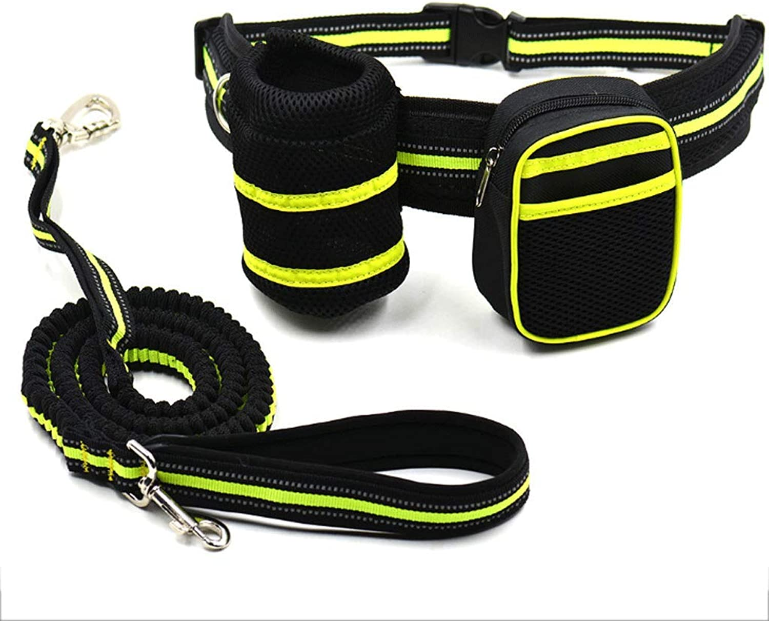 Pet Running Traction Rope Pet Reflective Traction Dog Running Traction Pocket Bag Set (color   Green)