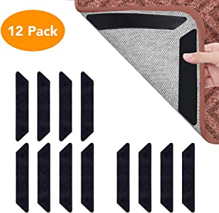 Beaverve 12PCS Rug Gripper for Carpet, Anti Curling Rug Tape for Area Rugs, Strong Stickness Carpet Tape Adhesive Non Slip Rug Pad, Double Side Rug Tape for Hardwood Floors, Carpets, Area Rugs & Mats