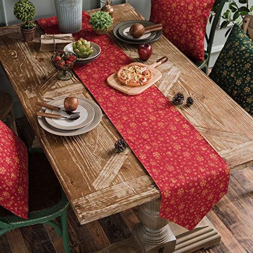 Camino de mesa Mesa de comedor de decoracion del hogar Decoracion de Navidad Flores bordadas sabanas de algodon arpillera caminos de mesa Para comedor / fiesta / decoracion de vacaciones