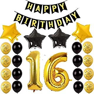 """AMAWILL 16th Birthday Party Balloons Happy Birthday Letters Banner Black Happy Birthday Banner Number 16"""" Gold Foil Balloo..."""