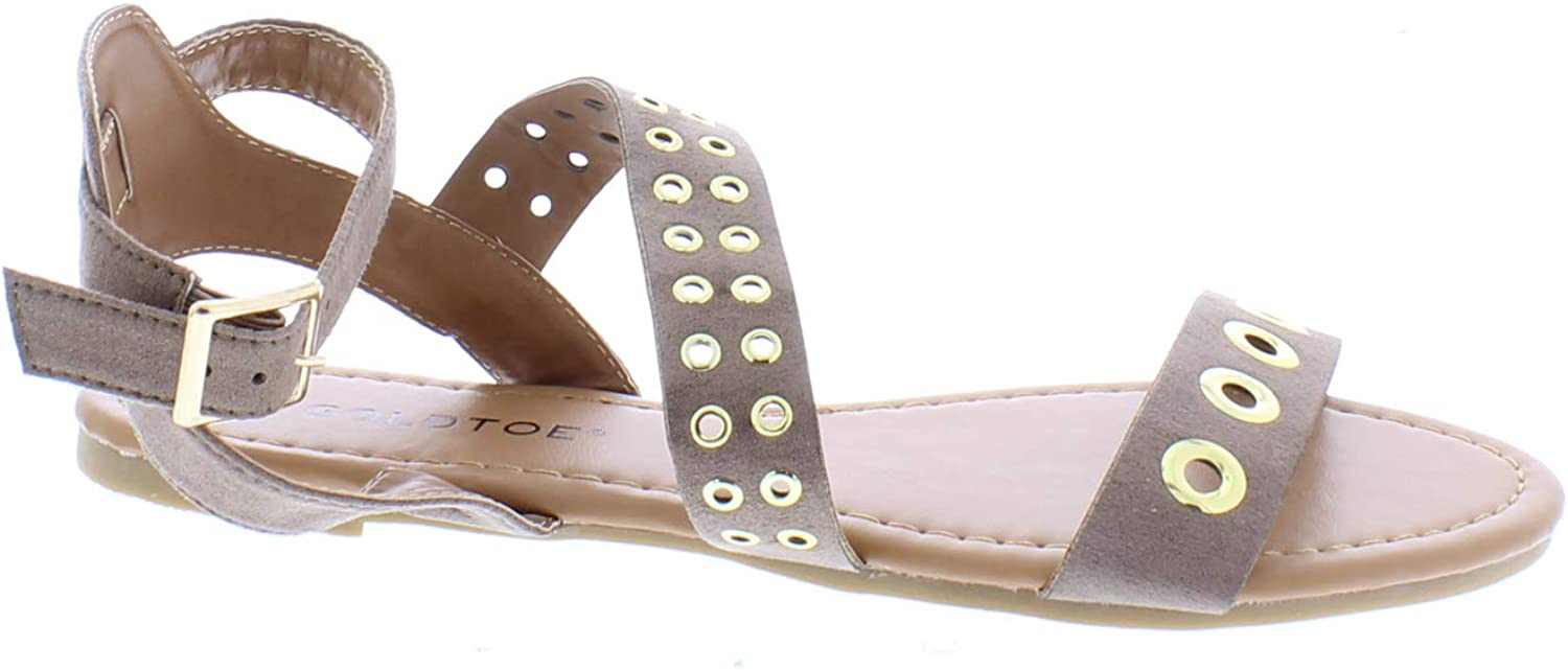 Women's Microsuede Strappy Sandal with Hardware Detail,Flat Sand