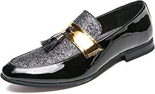 Duckmole Mens Fringe Decoration Sequin Vamp Penny Loafer Slip on Dress Shoes Size7-11