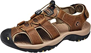 Men's Leather Sandals Beach Walking Sandals Summer Comfortable Trekking Walking Shoes Outdoor Sport