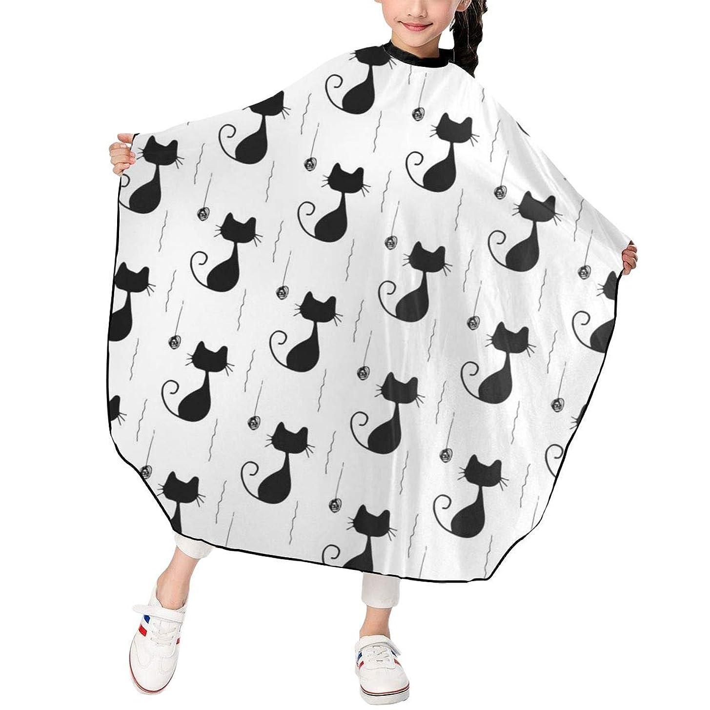 安西消化ハイキング子猫ちゃん パターン 散髪ケープ ヘアーエプロン 子供 サロン 家庭 美容院 理髪 便利 散髪マント 撥水加工 静電気防止 柔らかい 滑らか 上品 ファッション 男女兼用 ギフト