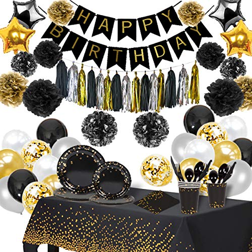 Black and Gold Party Decorations Supplies and Tableware Set (224 Pieces) | Serves 24 Guests | Ideal Birthday Decorations For Men and Women | Complete Party Supplies with Forks, Plates, Spoons, Napkins, Cups, Balloons, Happy Birthday Banner, Table Cloth and Much More!!!