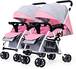 Baby carriage PeaceipUS Twin Baby Stroller, Double Infant Trolley Detachable Reversing Lightweight Foldable Push Handle Adjustable (Color : Pink+Gray)