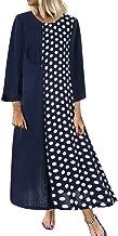 aihihe Plus Size Dresses for Women Maxi Long Sleeve Crew Neck Casual Loose Vintage Boho Polka Dot Autumn Long Dress
