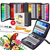 100 Colors Dual Brush Markers Pens , ZSCM Colored Pens Watercolor Art Markers Fineliner Calligraphy Pens, for Kids Adults Coloring Books, Gifts for Mother, Drawing Sketching Bullet Journaling