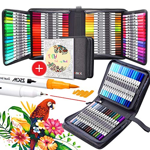 100 Colors Dual Brush Paint Pens , ZSCM Colored Pens Watercolor Art Markers Fineliner Calligraphy Pens, for Kids Adults Coloring Books, Christmas DIY Crafts, Drawing Sketching Bullet Journaling
