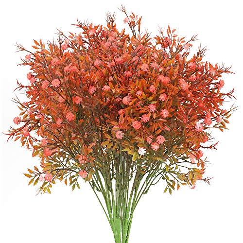 NAHUAA 4pcs Flores Artificiales Aliento de Bebé Gypsophila Planta roja Grande Flor de plástico Sala de Estar Dormitorio balcón decoración de la Boda