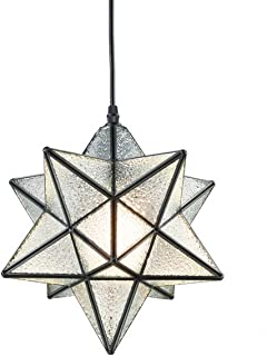 YOBO Lighting Moravian Star Textured Glass Pendant Lamp 1 Light, 12-in