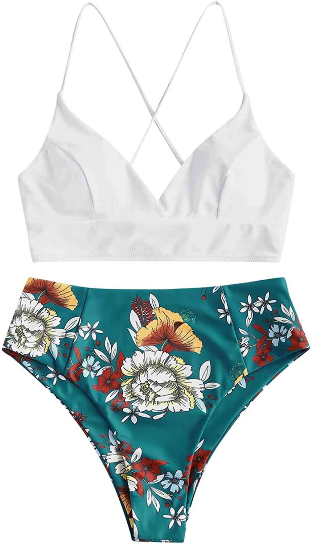 Swimsuit for Women,Women Sexy High Breast Contrast Gradient Split Bikini Set High Waisted One Piece Swimsuit Tankini