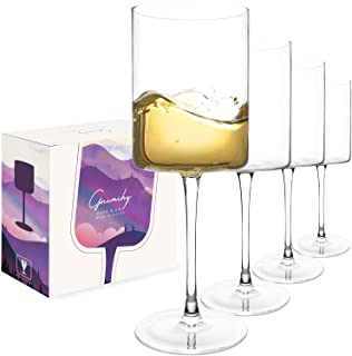 Gnimihz Wine Glasses Set of 4 - 16oz Cylindrical Red White Wine Glass, Made from Lead-Free Premium Crystal, Great Gift for...