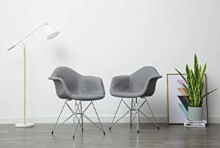 Porthos Home Upholstered Set of 2 Chair with Arms Chrome Metal Legs and a Beautiful Blue Fabric Eames Style Armchair for Living Dining Room Furniture Size 34 x 25 x 24 inches, One, Grey