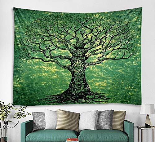 DLSM Modern fashion abstract emerald green towering tree printing tapestry living room bedroom study ceiling decoration background tapestry-150x200cm brushed