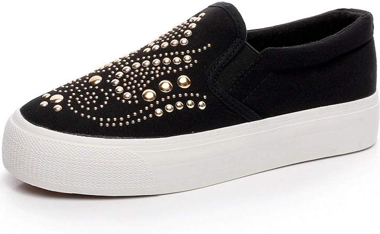 DETAIWIN Women Casual Flat shoes Rivet Comfortable Leisure Non Slip Ladies Fashion Round Toe Walking Loafers