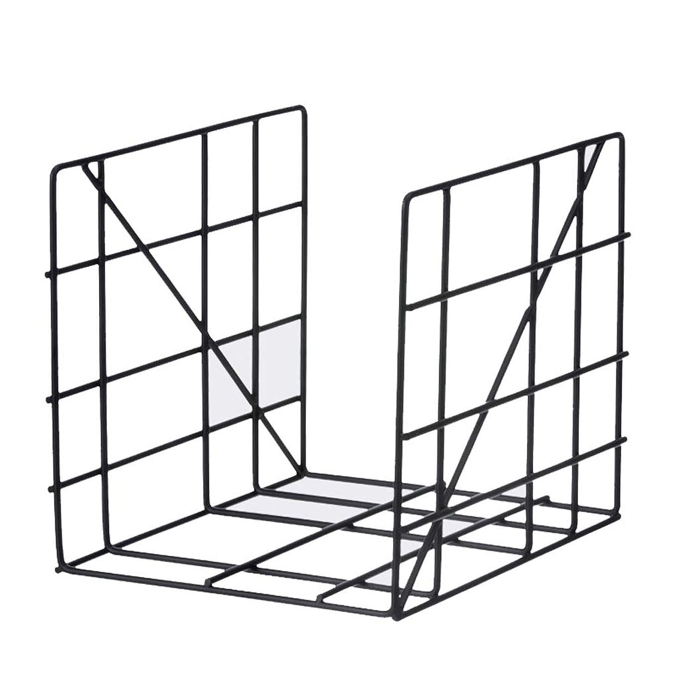テメリティホイットニー楽しむKTYXDE 錬鉄製の本棚情報オフィス新聞デスクトップ収納ラッククリエイティブラック25×31×31 cm 本棚 (Color : Black)