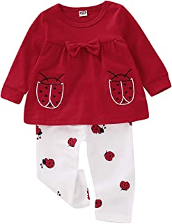Toddler Baby Girls Clothes Long Sleeve Ladybug Bow Tops Pant Set 2pcs Red Dress Top Cotton Leggings Pants Outfits Kids