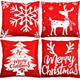 I prodotti includono: il set ha 4 rosso decorativo copre cuscino di Natale, 4 diverse copertine a tema, carino alce, fiocco di neve, albero di Natale, buon Natale, 18 x 18 pollici/ 45 x 45 cm Materiale: la copertura del cuscino di Natale è fatta di l...