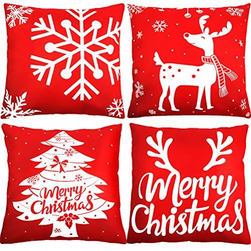 4 Pezzi di Natale Copricuscini Cuscino Copertura 18 per 18 Pollici per Divano, Alce Fiocco di Neve Albero di Natale Corna Copertine a Tema Merry Christmas, Rosso