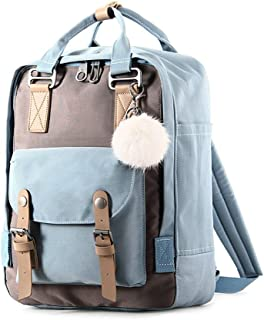 Tong Fashion Large-Capacity Ladies Backpack Canvas for Travel Outing Shopping (Color : Light Blue)